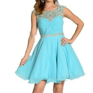 NWT Short Aqua Chiffon Dress W/ Jewels